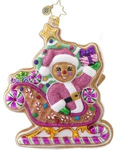 Christopher Radko DASHING THROUGH THE ICING Cookie ornament NEW 2013 ~ Decorating Gingerbread Sweets Candyland theme Christmas tree. www.radkoforsale.com