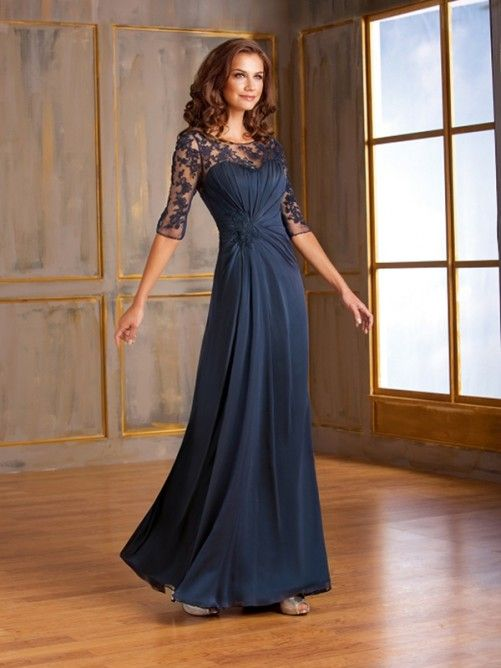 A-line/Princess Scoop 1/2 Sleeves Lace Floor-length Chiffon Mother Of The Bride Dresses