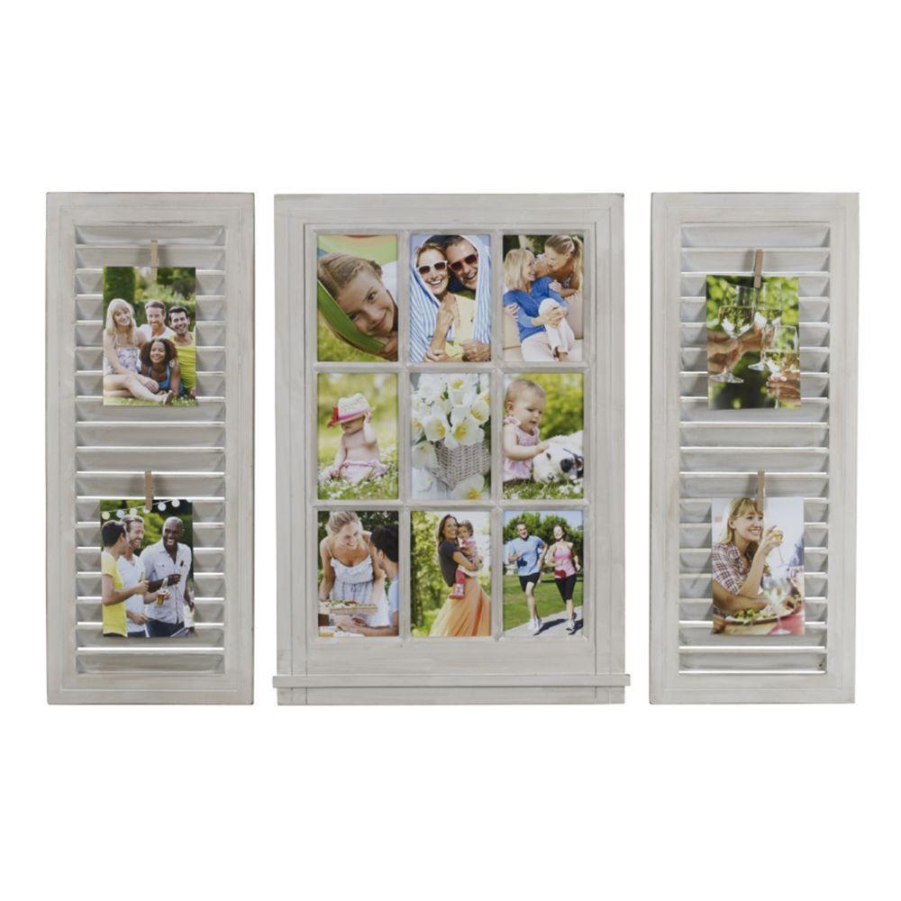 Melannco 3-piece Windowpane Shutter 9-Opening 4\'\' x 6\'\' Collage ...