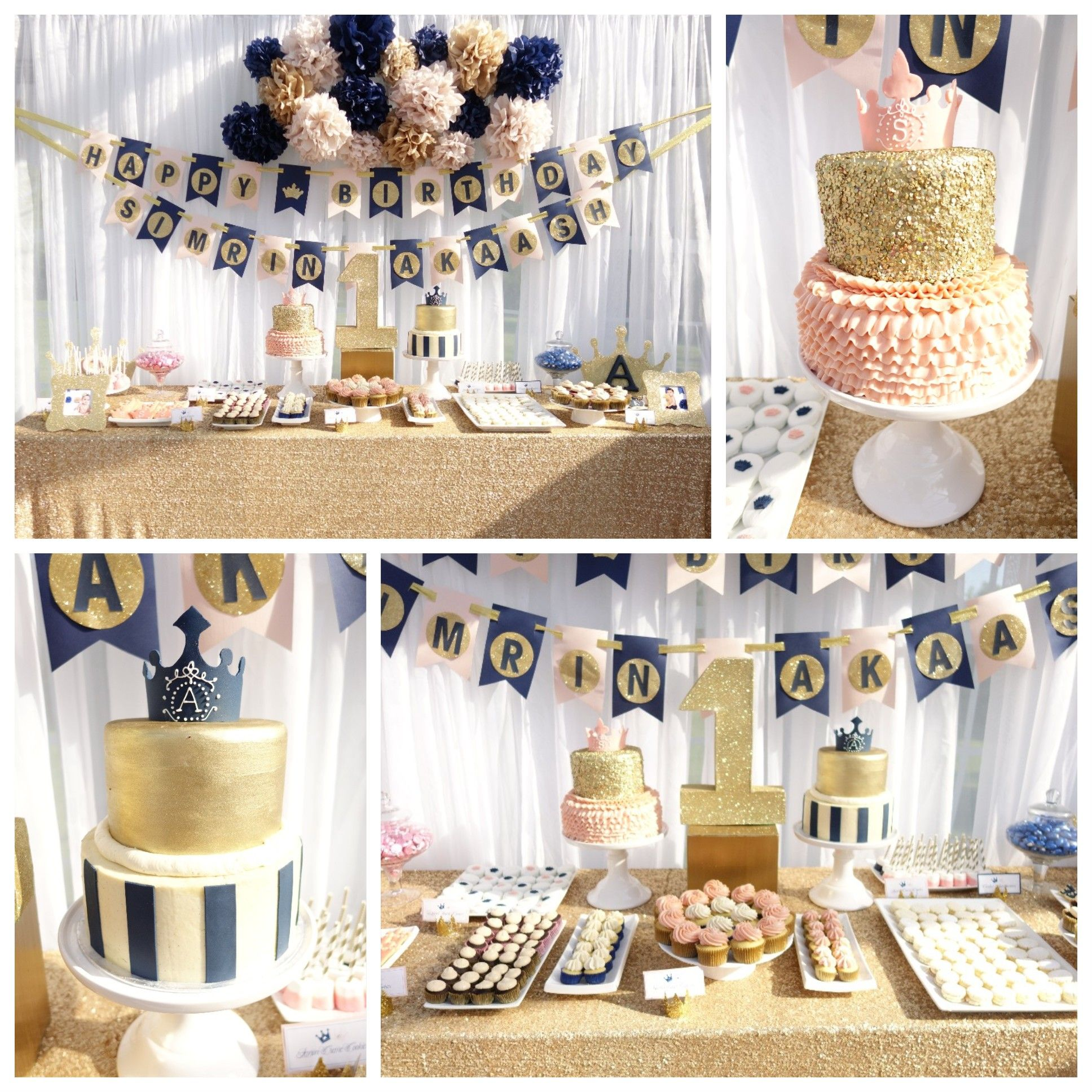Pink Gold Navy Boy Girl Twin 1st Birthday Party Cake