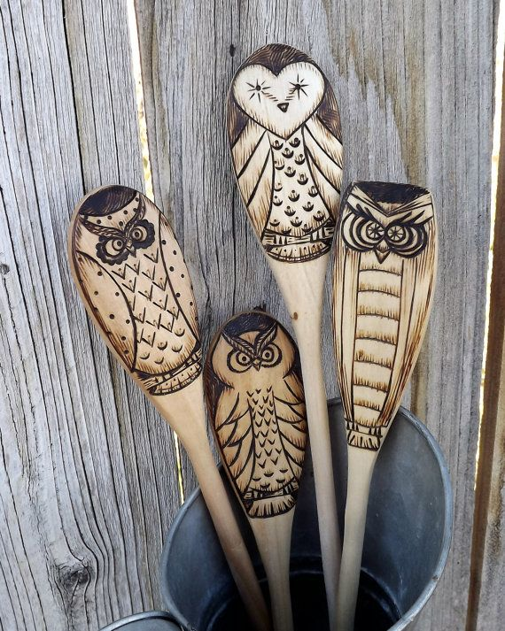 owl wood spoons wood burned set of 4 bois brul. Black Bedroom Furniture Sets. Home Design Ideas