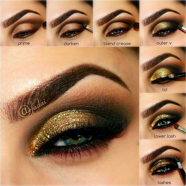 Gold and white dress makeup