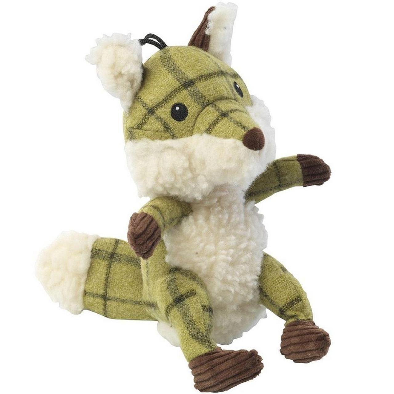 Tweed plush fox. A fun plush green tweed fox dog toy with