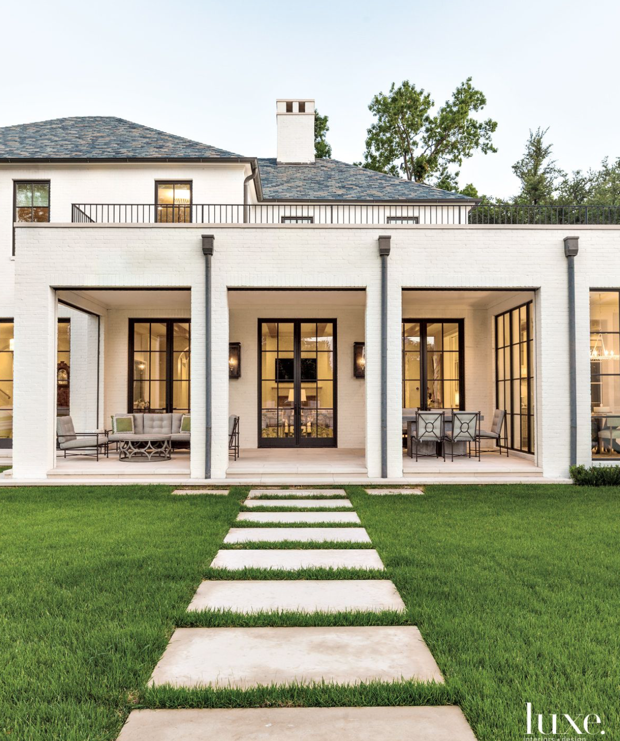 Black White Modern Transitional Home Outside Living Space