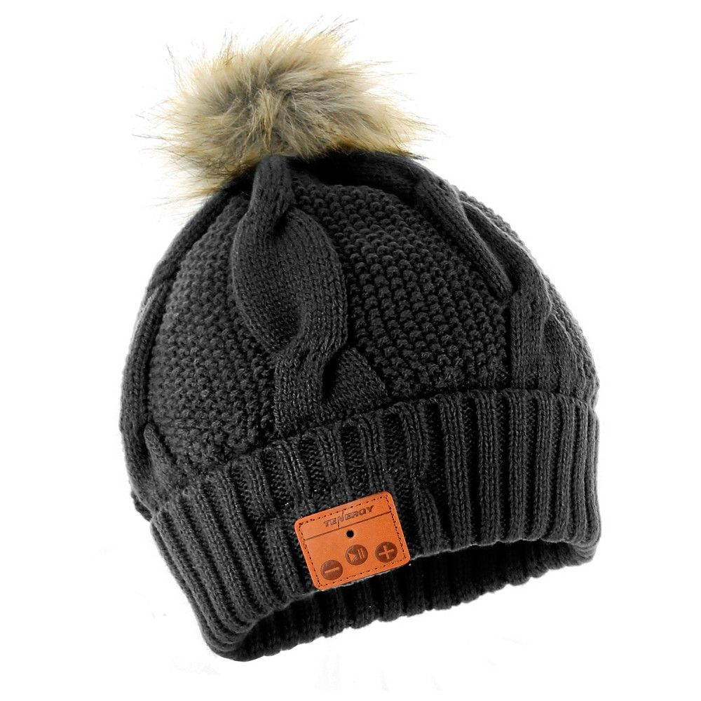 Tenergy Bluetooth Beanie with Wireless Microphone and Faux Fur Pom ... 0d97b4596e9