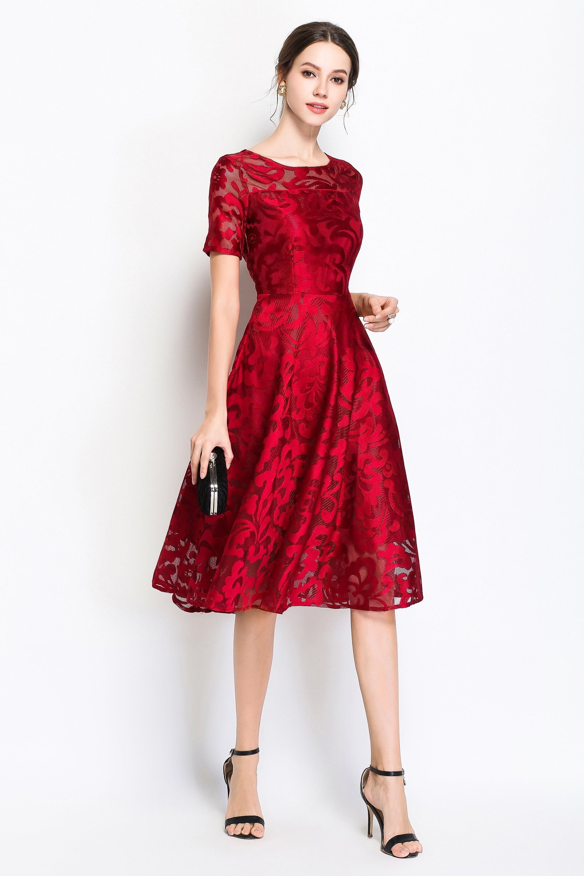 25dff0088fba6 Midi Dress in 2019   Best outfits I've seen   Red holiday dress ...