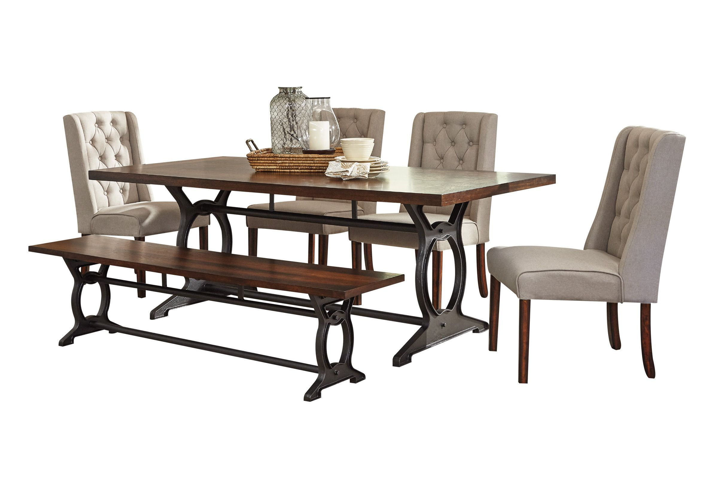 Laurel Dining Table 4 Side Chairs Bench White Living Room