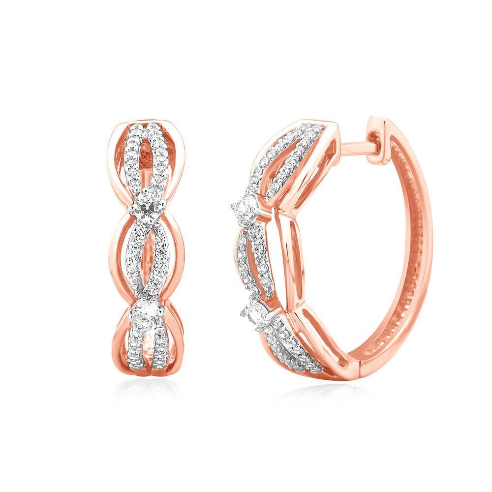 dc10b80141e24 1 2 Ct Round Cut Natural Diamond Hoop Earrings Huggies 14k Rose Gold Womens   CaratsForYou  Hoop