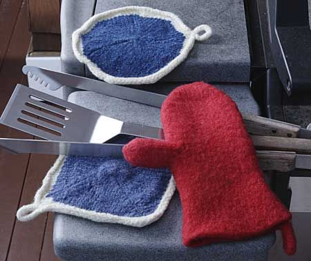 Hot Out Of The Oven Mitt Potholder Pattern Knitting Patterns And