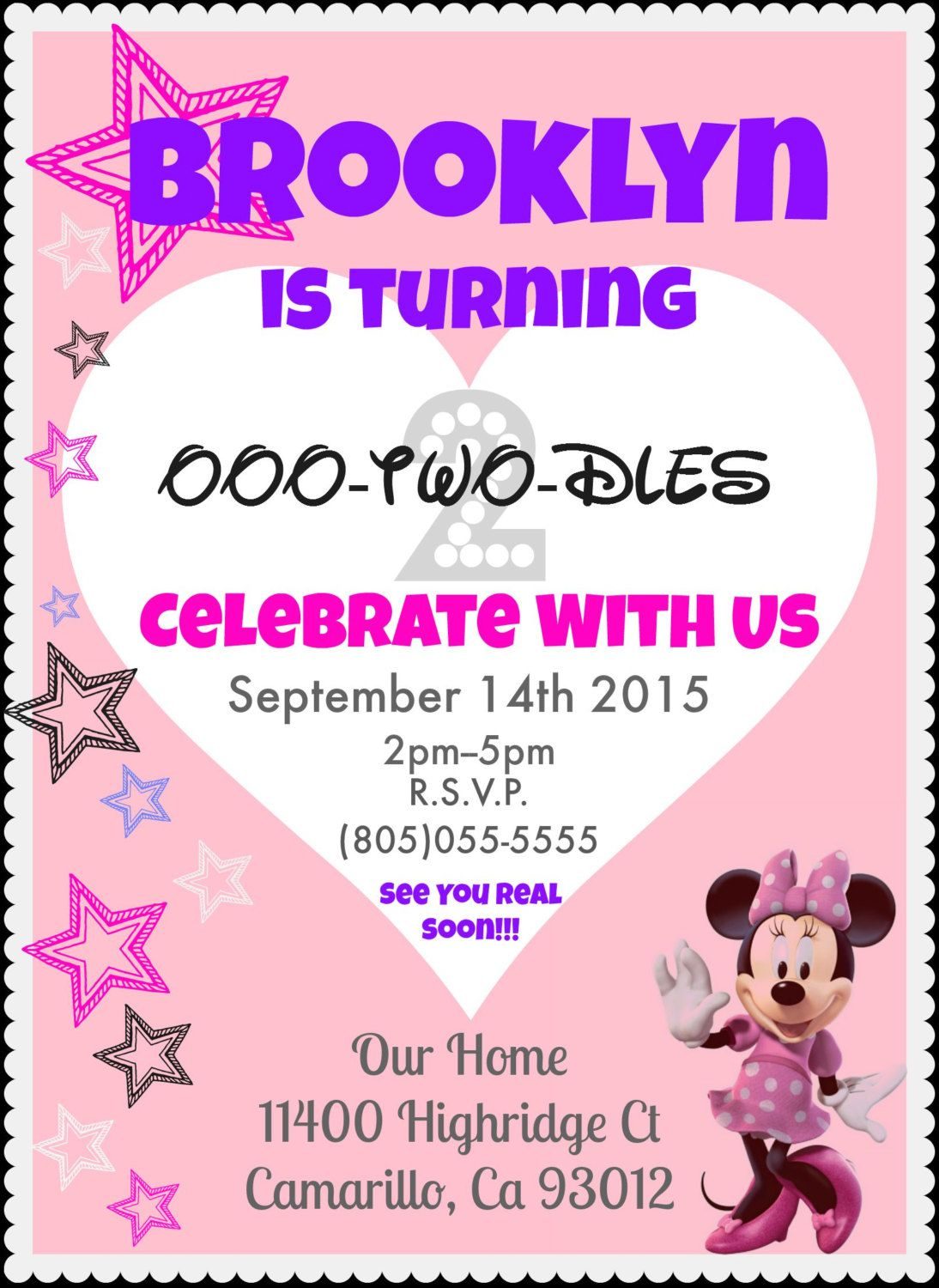 TEMPLATE DIY Minnie Mouse Birthday Invitation Invite Party 2 Year Old Girl Pink Black White Grey Purple Instant Download And Print By TheFunType On Etsy