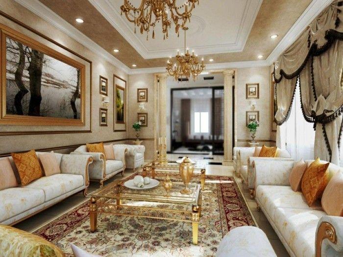 wohnideen wohnzimmer mit abgehängter decke und stilvollen mustern - wohnzimmer ideen decke