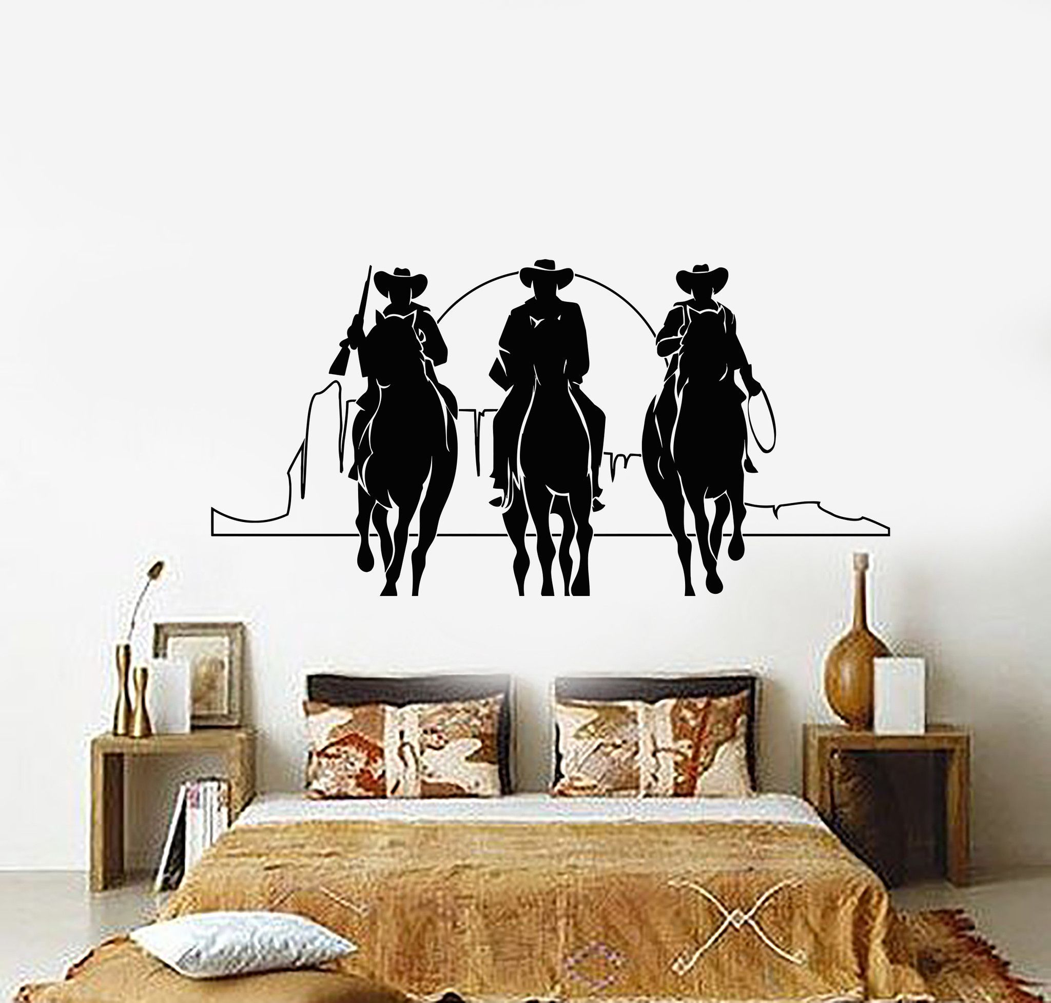 Vinyl wall decal western cowboys horses sunset movie cinema vinyl wall decal western cowboys horses sunset movie cinema stickers 901ig amipublicfo Images