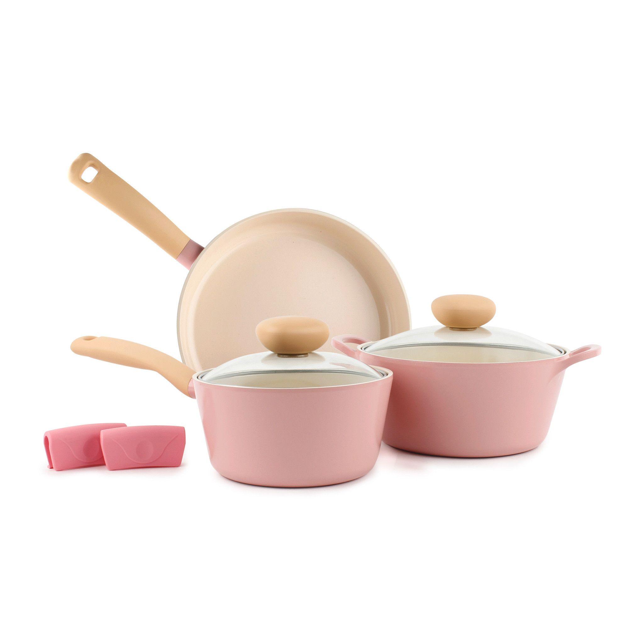 Retro 5 Piece Ceramic Nonstick Cookware Set In Pink In 2020