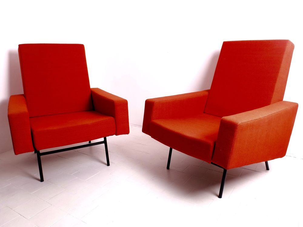 Pair of Armchairs Pierre Guariche Ferro Transformable  Prouve Perriand