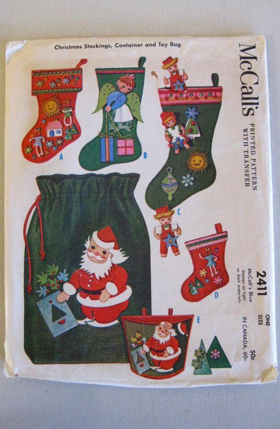1960s Christmas Stocking Pattern, Toy Bag Pattern, McCalls 2411 ...