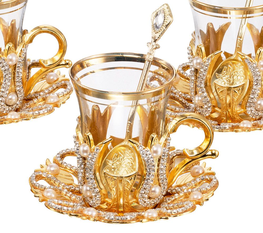 Turkish Tea Set Gold Plated 6 Cups 6 Spoons Serving Tray /& Sugar Bowl
