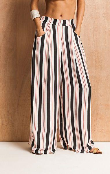 Calça Pantalona Listrada  fa6a785536a