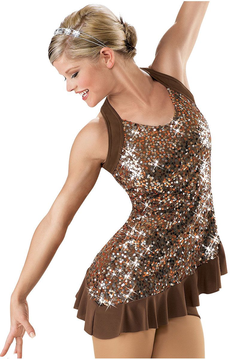 Yeahdor Womens Lyrical Ballet Dance Dress Glitter Sequins Camisole Irregular Tutu Tulle Skirt Leotard