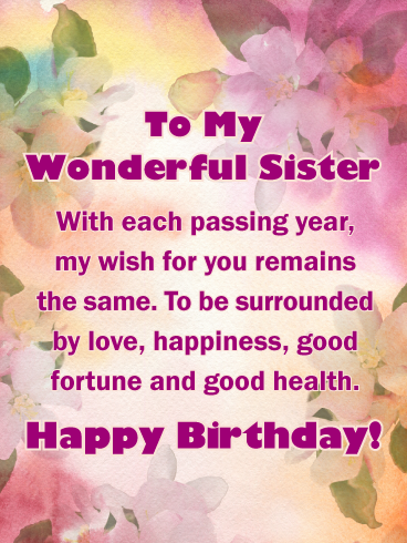 Extra Special Touch Happy Birthday Card for Sister
