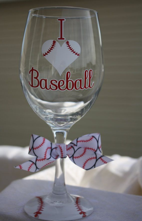 I Love Baseball Extra Large Wine Glass For The Baseball Fan