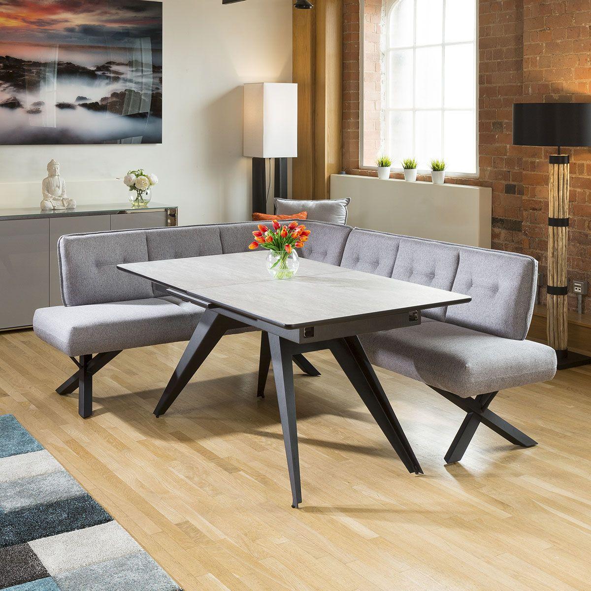 Extending Dining Table Concrete Melamine 6 Seater Grey Corner