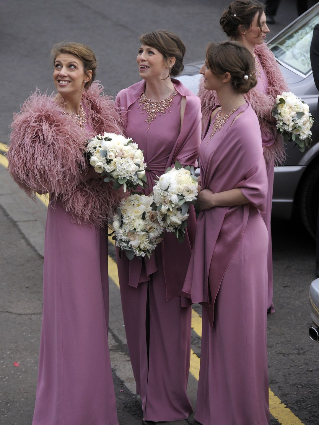 Bridesmaids look up at the wedding of british tennis player andy bridesmaids look up at the wedding of british tennis player andy murray and his new wife ombrellifo Choice Image