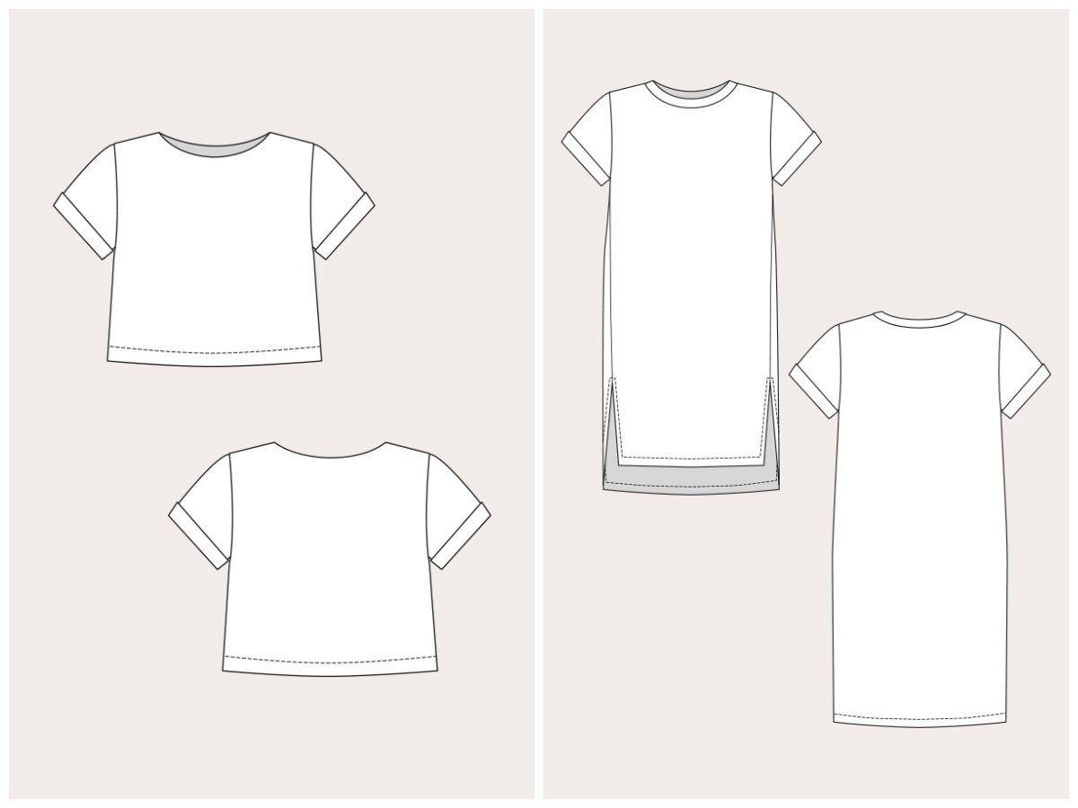 Named Clothing 06-061 Inari Tee Dress & Crop Tee Downloadable Pattern