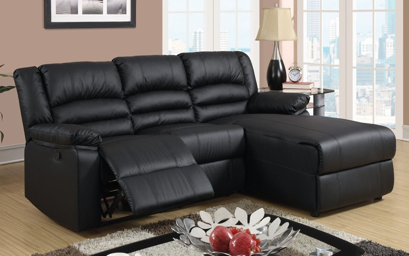 Modern Bonded Leather Small Space Sectional Reclining Sofa With