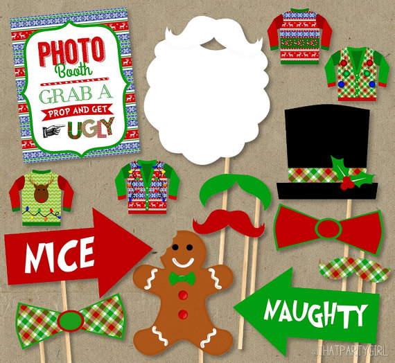 VINTAGE PHOTO BOOTH PROPS Selfie Christmas Gift Office Party Table Games
