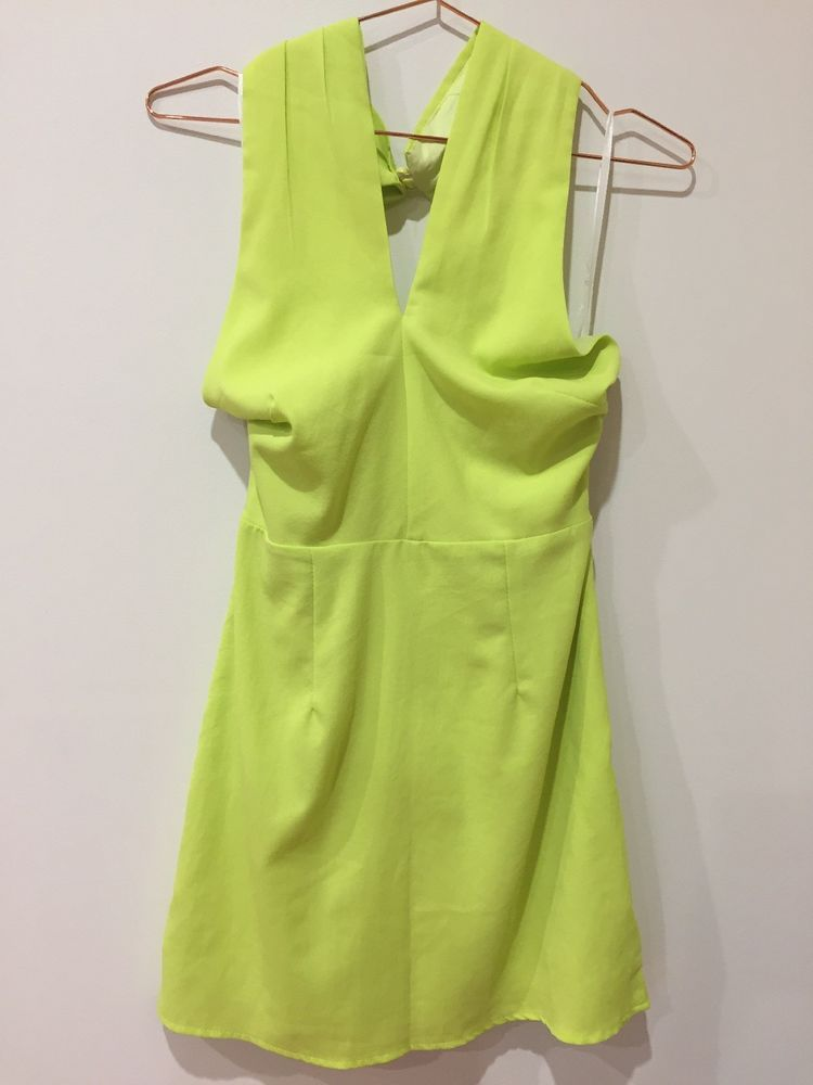 5eb672a0fd1f loving things size 10 halter neck dress brand new with tags splice lime  green | eBay