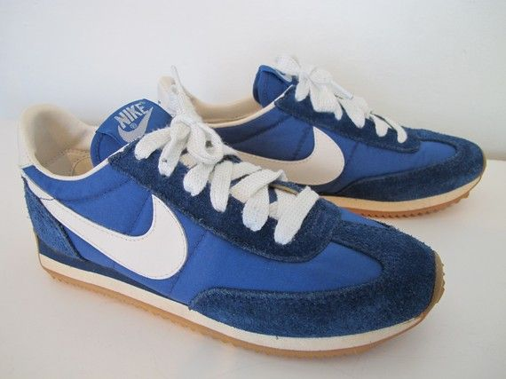 07cc7236f6ff3f Vintage Blue and White Leather Nike Swoosh Running Sneakers Shoes ...