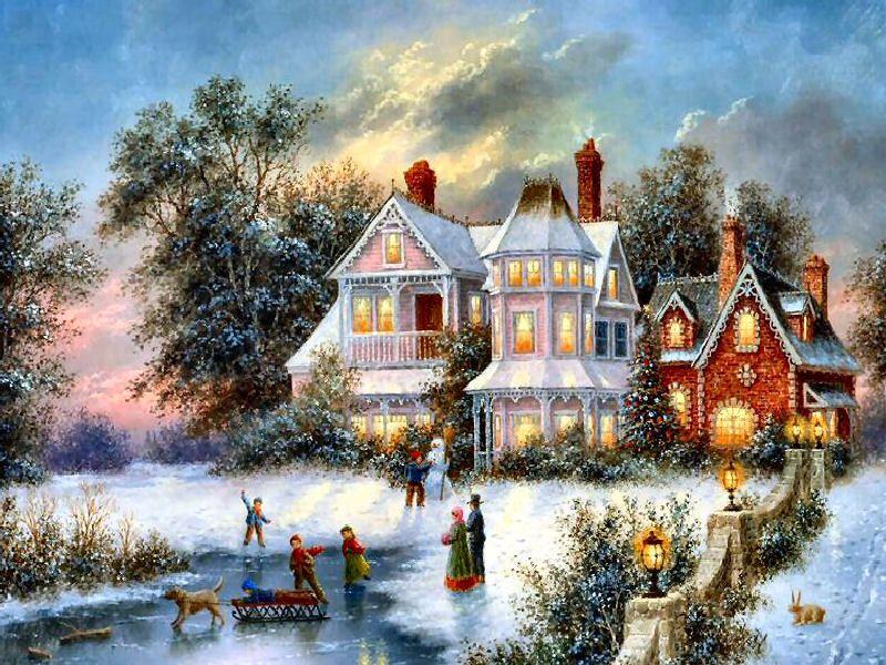 Joyeux Noel Twilight.Winter Twilight Dennis Patrick Lewan Christmas Paintings