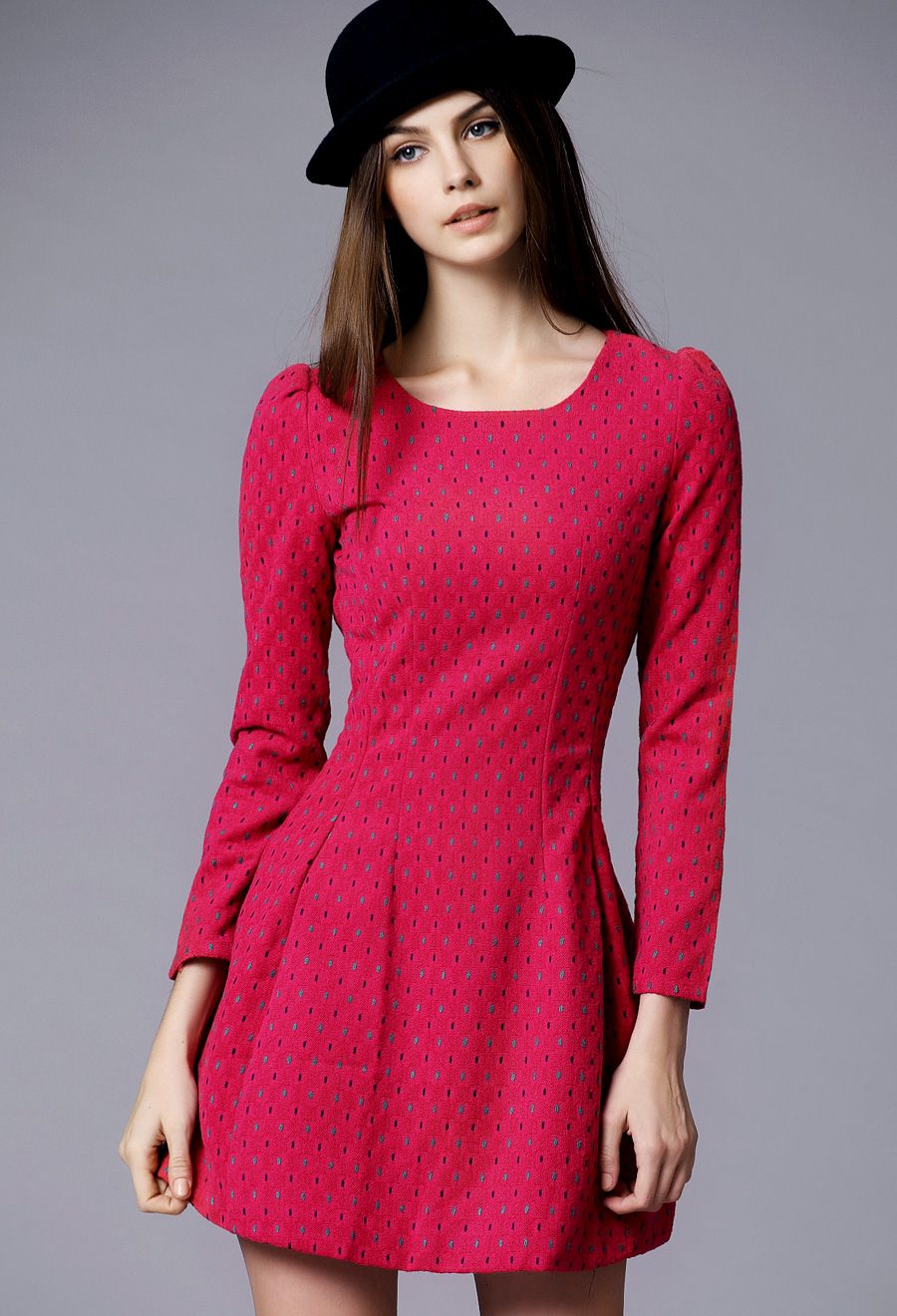 Red long sleeve slim a line dress places to visit