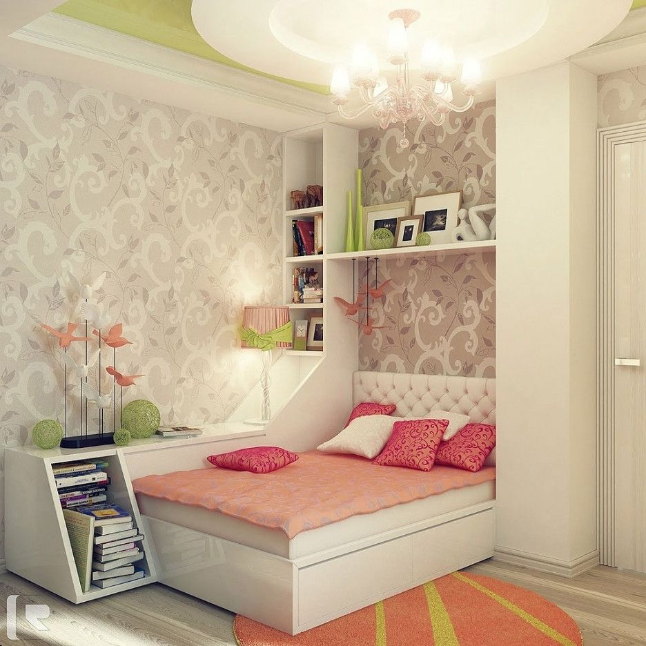 Smart Girl Bedroom Layout Ideas With White Murphy Bed And ...