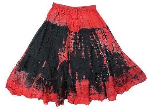 "Bohemian Gypsy Skirt, Red Black Tie Dye Cotton Peasant Skirt for Womens 30"" Mogul Interior,http://www.amazon.com/dp/B00BIZ485O/ref=cm_sw_r_pi_dp_vU9jrb01NG2TDQGZ"