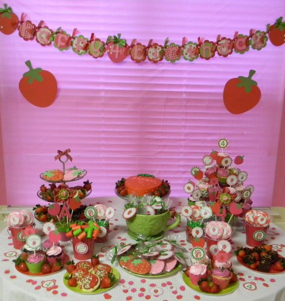 Berry Sweet Strawberry  Happy Birthday by sweetheartpartyshop, $32.00