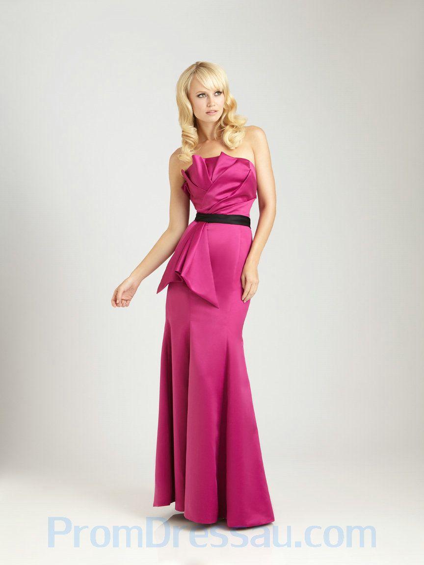New Style Fuchsia Bodice Black Waistband Designer Bridesmaid Dress ...