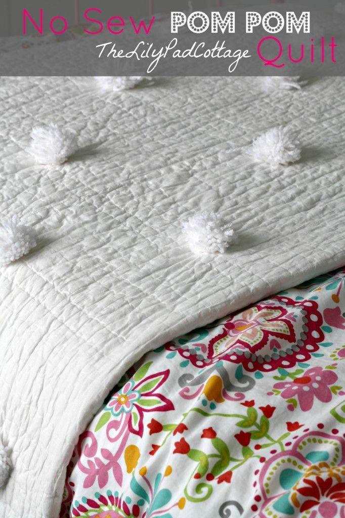 Easy No Sew Pom Pom Quilt - The Lilypad Cottage