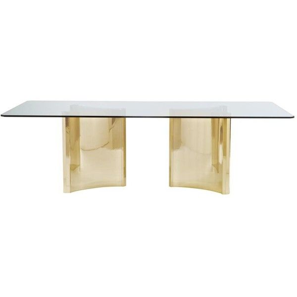 Ellen Modern Sleek Gold Double Pedestal Glass Dining Table 3 354