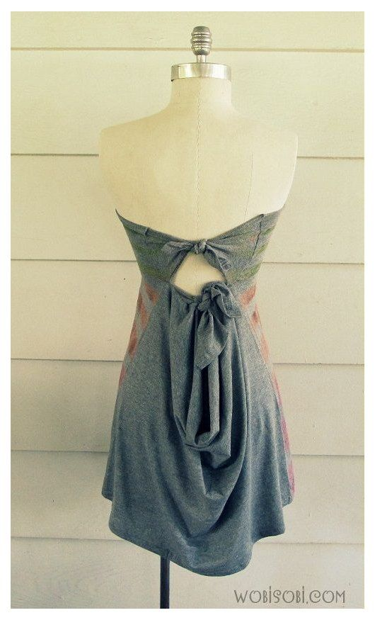 Striped, Strapless No-Sew T-Shirt, DIY I will be making a trip to Goodwill for a shirt for this! #diydresses