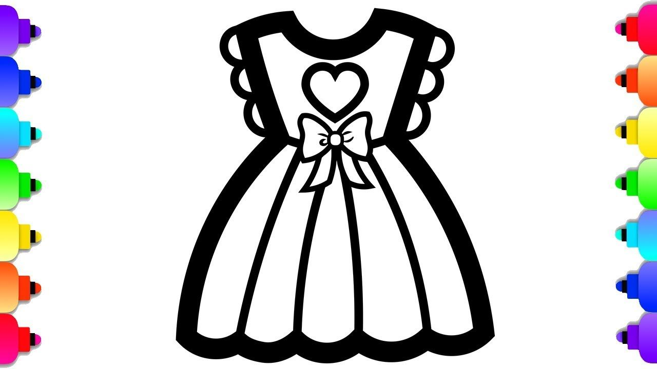 Glitter Baby Doll Dress Coloring And Drawing For Kids Baby Doll Acce Drawing For Kids Baby Coloring Pages Dress Drawing