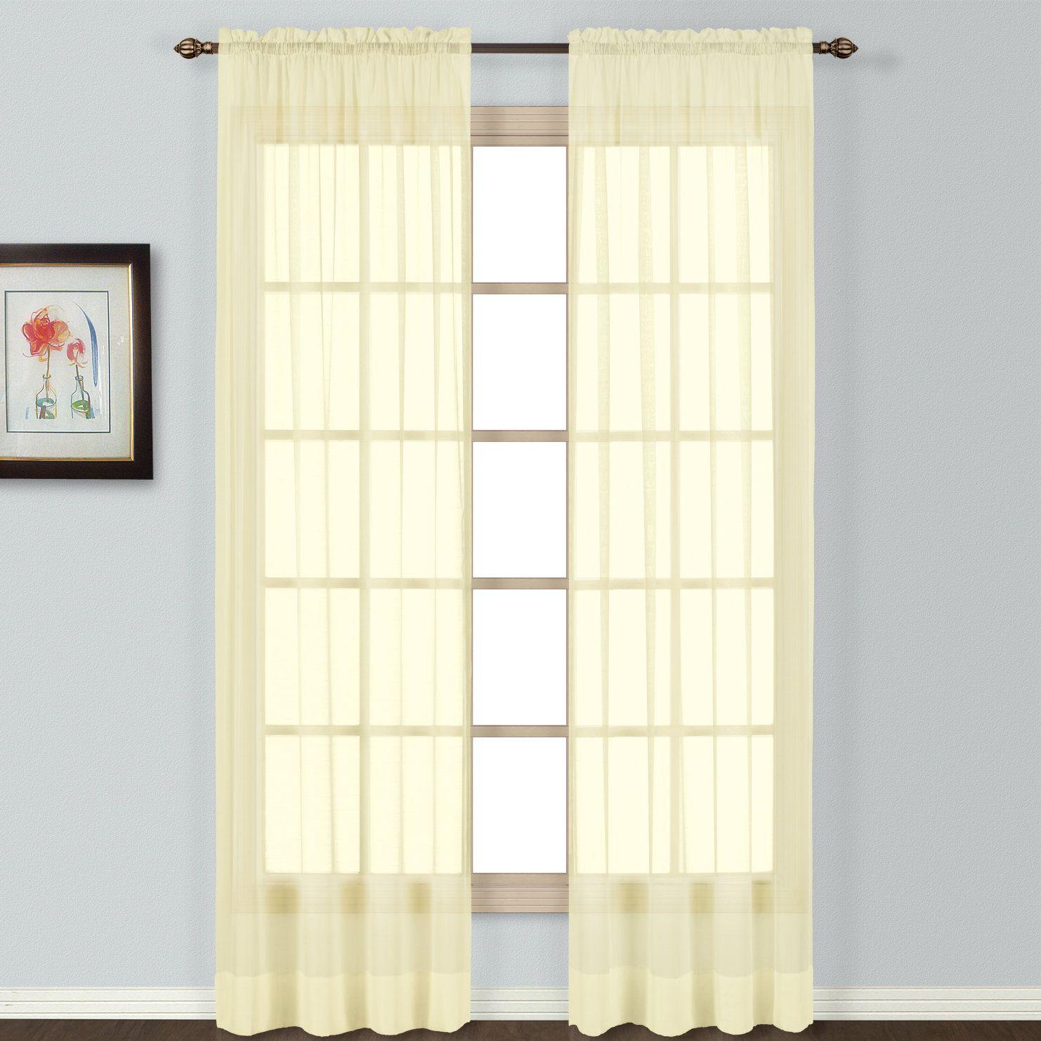 Giselle Semi Sheer Rod Pocket Single Curtain Panel Panel Curtains Curtains Rod Pocket Curtains