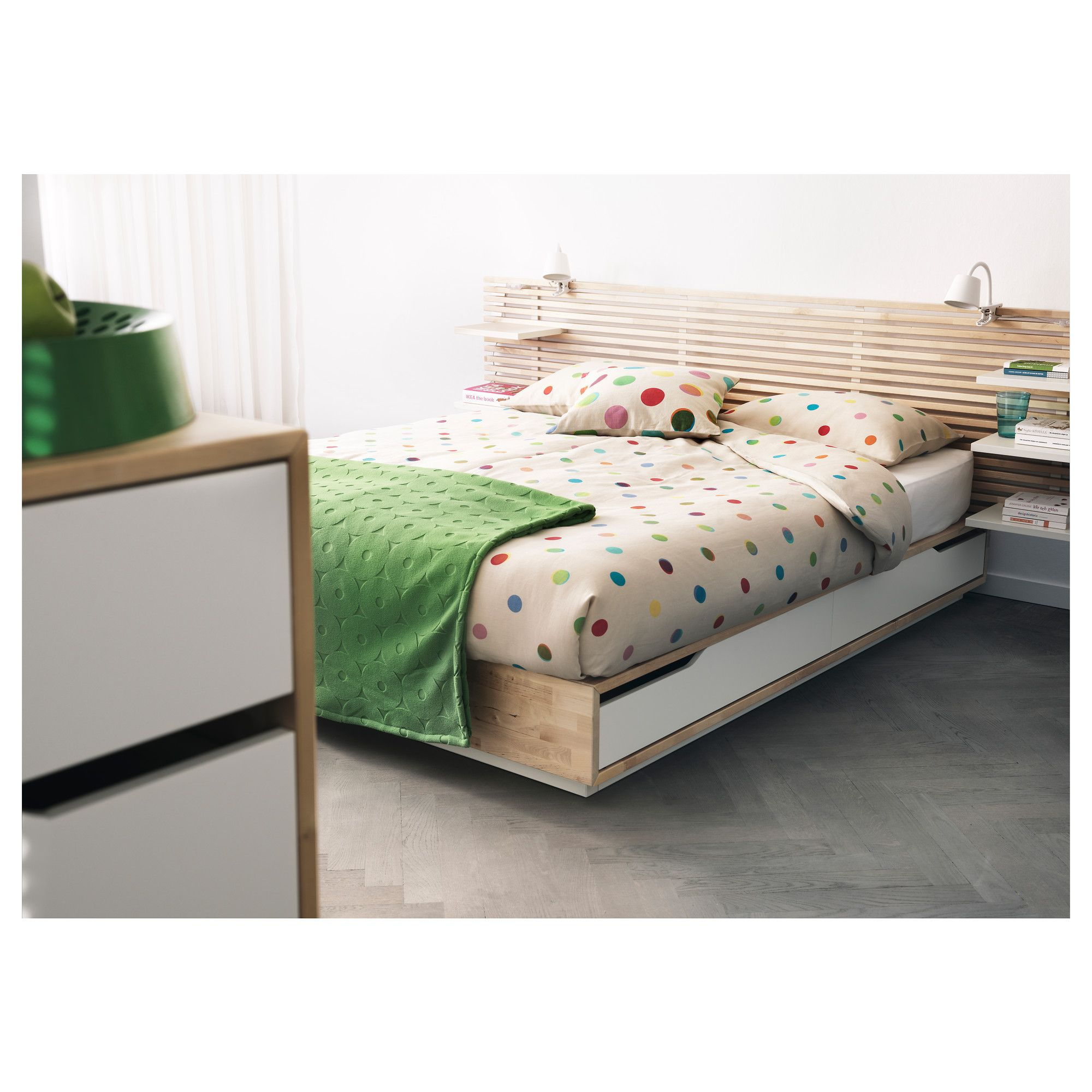 love this bed and headboard combo takes up minimal visual clutter and had storage to boot mandal bed frame with storage ikea the four drawers in the bed