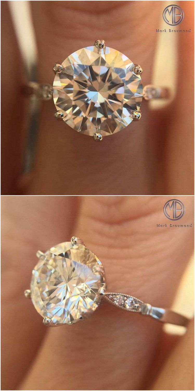 2.22ct Round Brilliant Cut Diamond Engagement Ring SKU: 3633-1 Follow @markbroumand