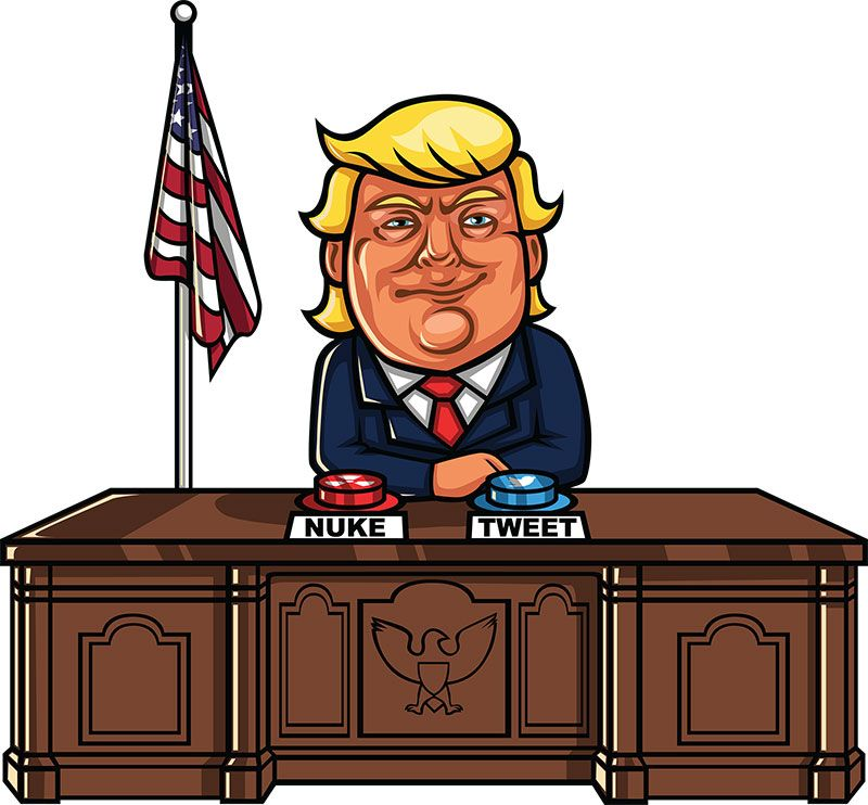 Donald Trump Sitting At His Desk In The White House With Nuke And Tweet Buttons In Front Of Him Trump This Cartoon Is Free To Use With Attribution