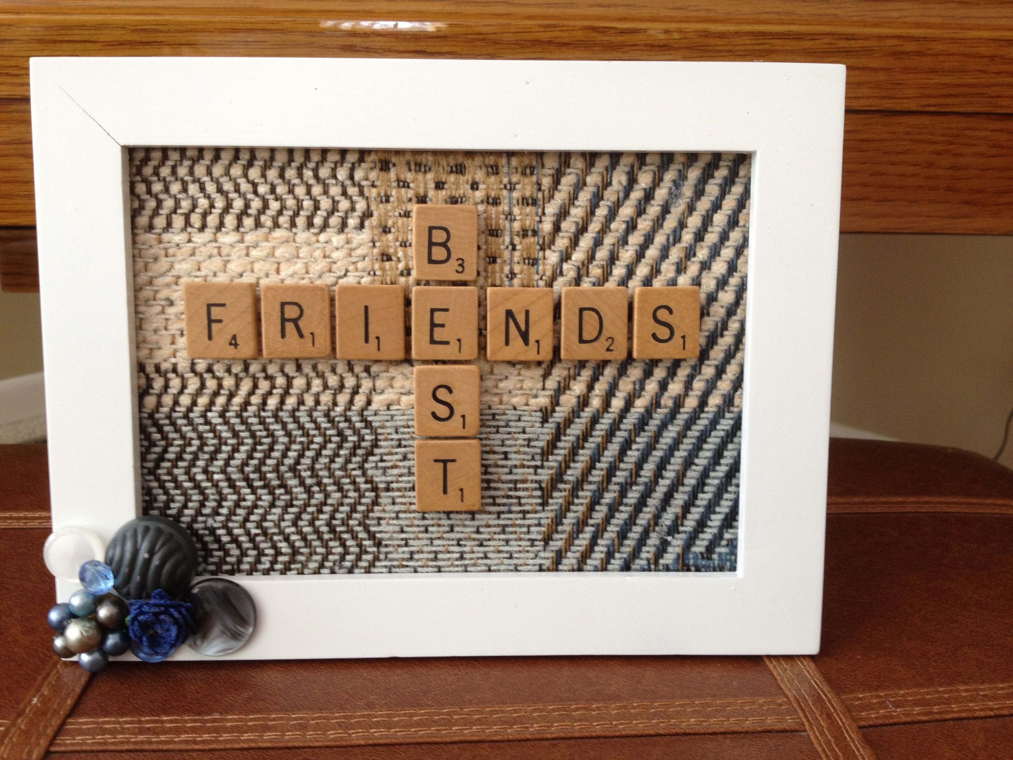 Scrabble Art Attach Material To Cardboard Backing Of Picture Frame