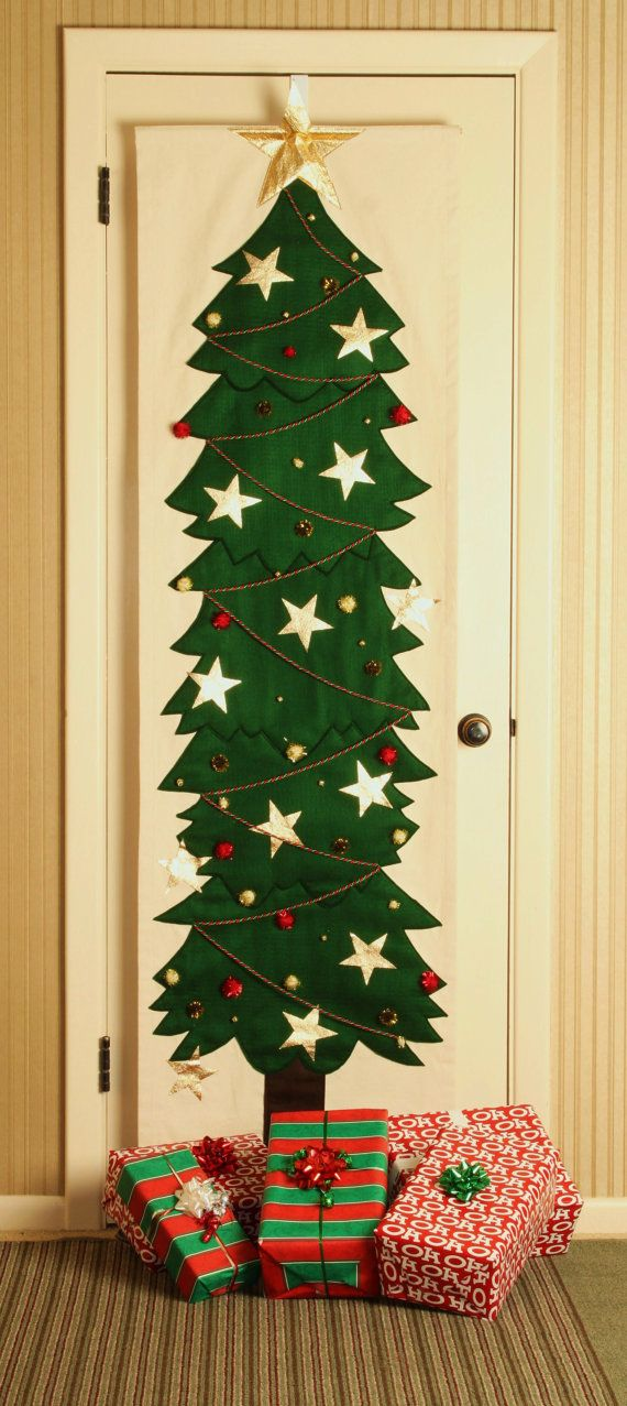 Items Similar To Door Christmas Tree With Stars On Etsy Diy Paper Christmas Tree Wall Christmas Tree Flat Christmas Tree