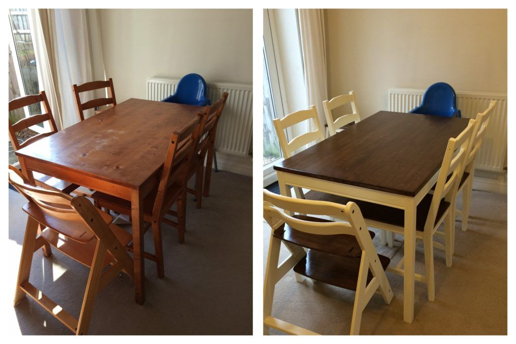 Before And After Upcycling An Ikea Jokkmokk Dining Table And