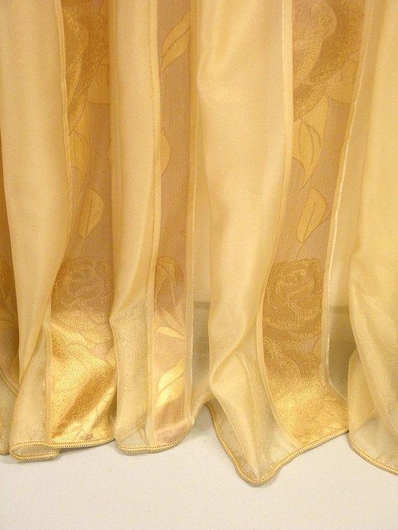 Ecru Beige And Pale Gold Stripes Sheer Curtain Fabric 118 Inches