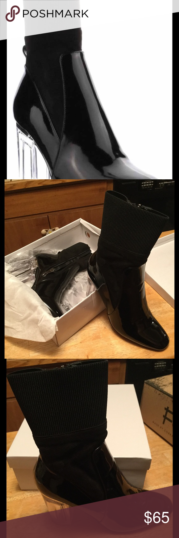 Black Patent and Cloth Boot This boot speaks for itself, when you walk out in this get ready to count the compliments!  Super comfortable and stylish. Soft Interior Lining ...Side Zipper, with a  3 inch heel Shoes Ankle Boots & Booties